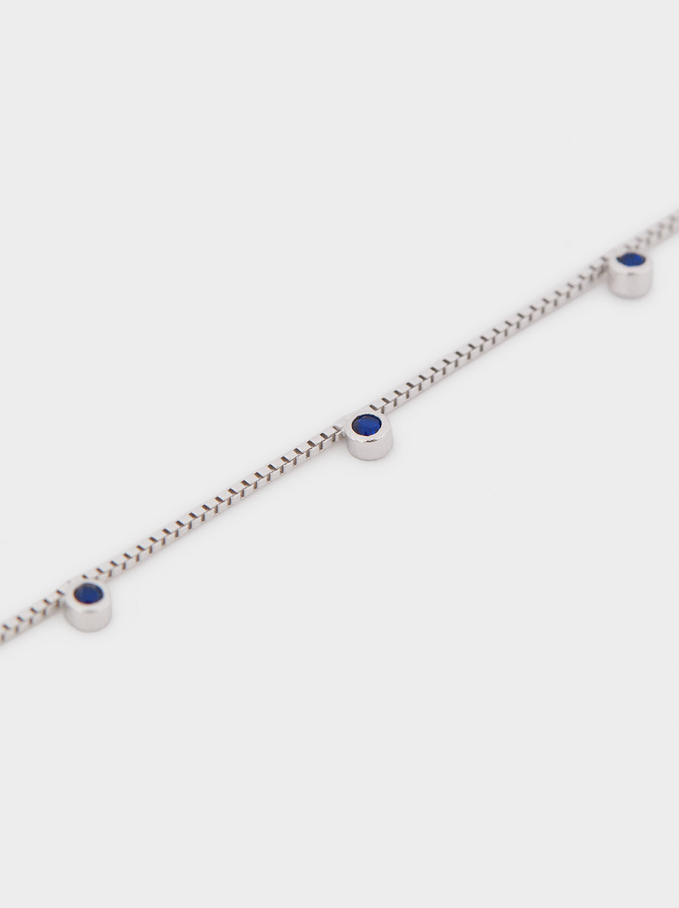 Short 925 Silver Necklace With Blue Zirconia, Blue, hi-res