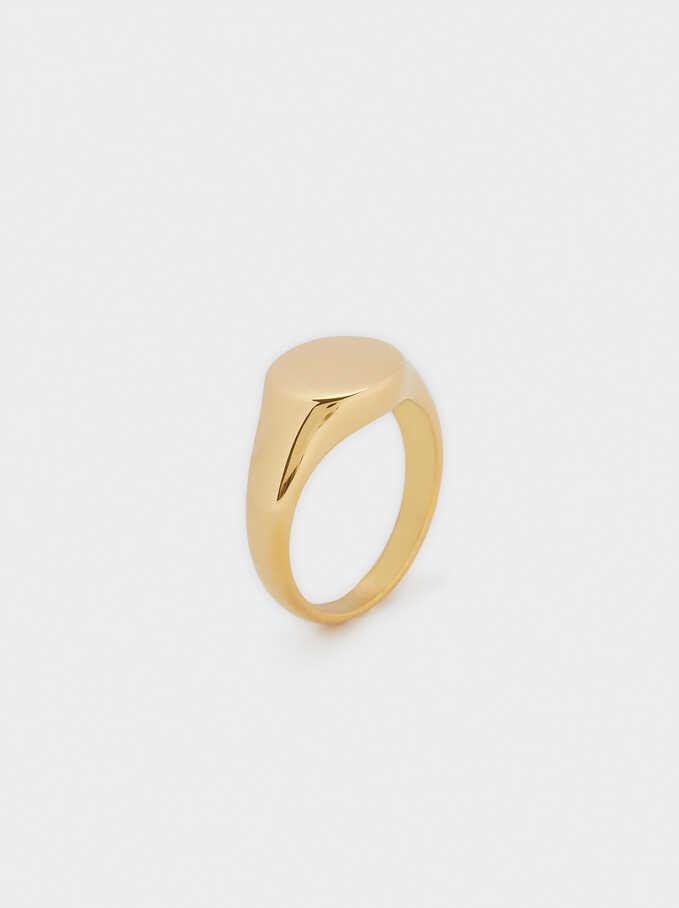 Stainless Steel Signet Ring, Golden, hi-res