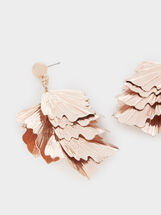 Large Rose Gold Leaf Earrings, Orange, hi-res
