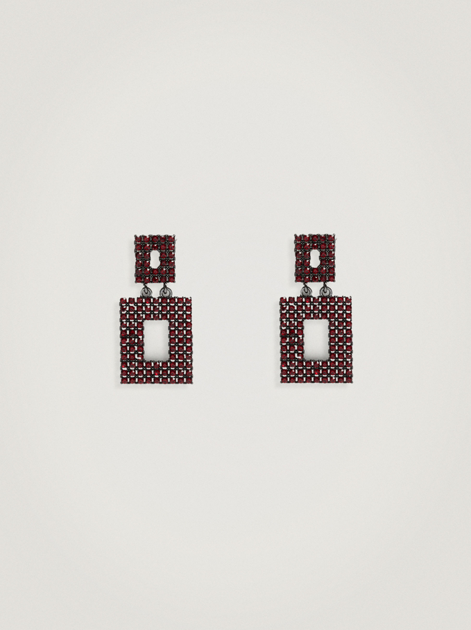 Geometric Earrings With Crystals, , hi-res
