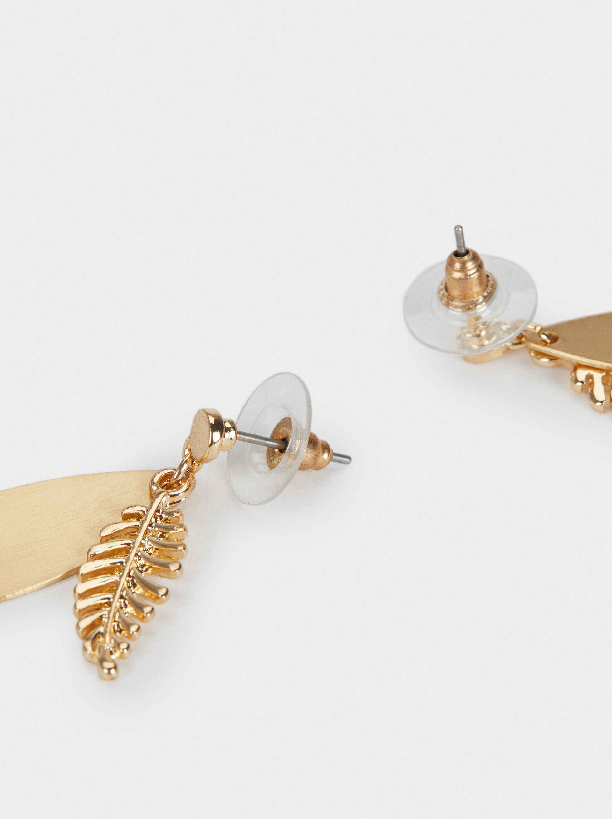 Medium Leaf Earrings, Golden, hi-res