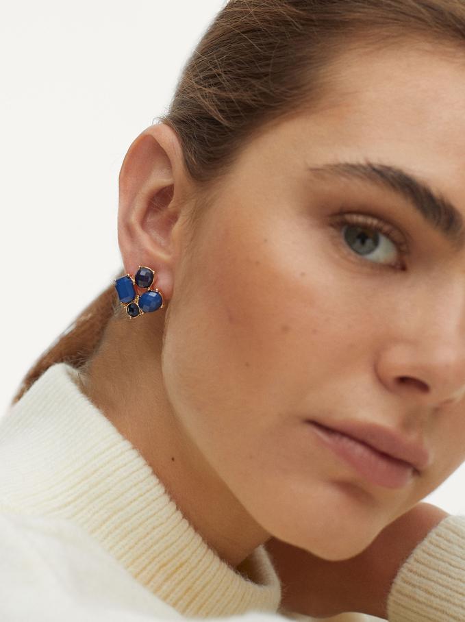 Kurze Ohrringe Mit Zierkristallen, Blau, hi-res
