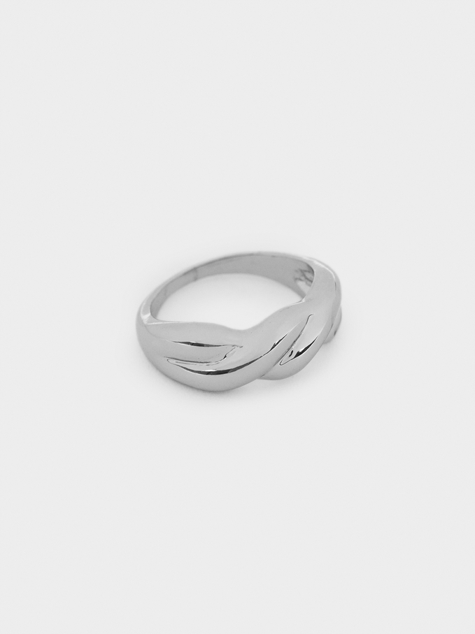Gold Braided Ring, Silver, hi-res