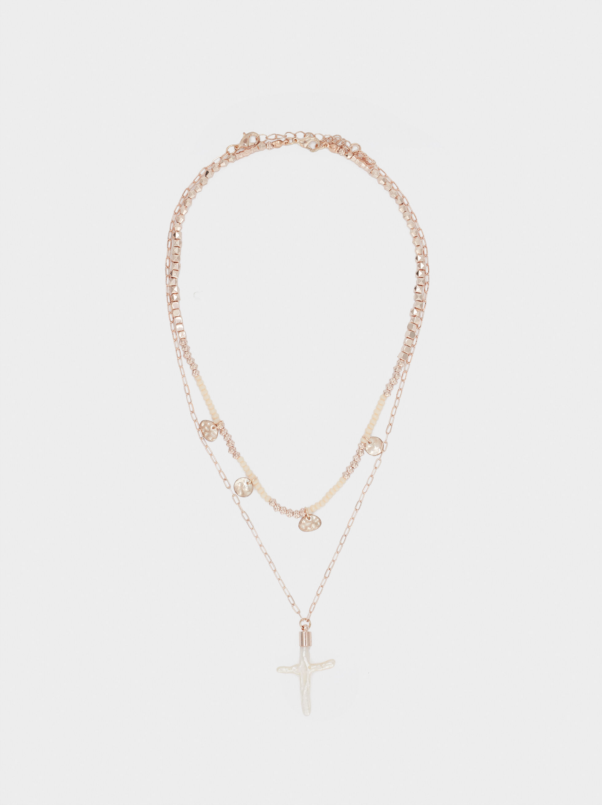 Short Rose Gold Necklace With Cross And Faux Pearl Detail, Orange, hi-res