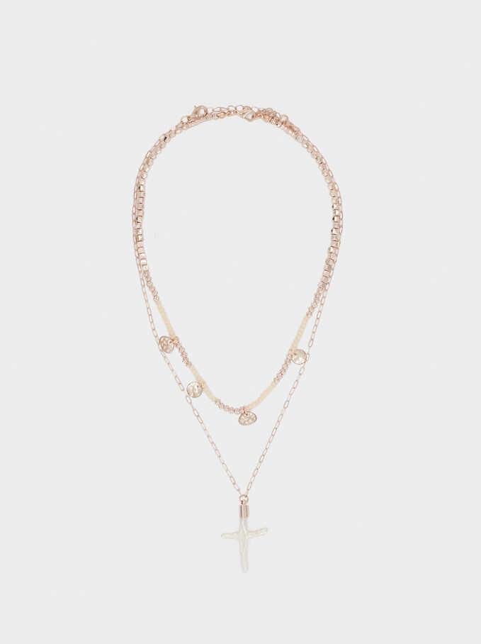 Collar Corto Perla Y Charms, Naranja, hi-res