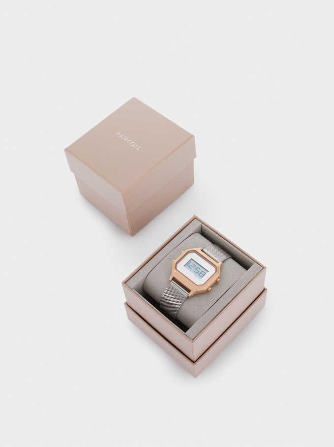 Square Case Digital Watch, Silver, hi-res