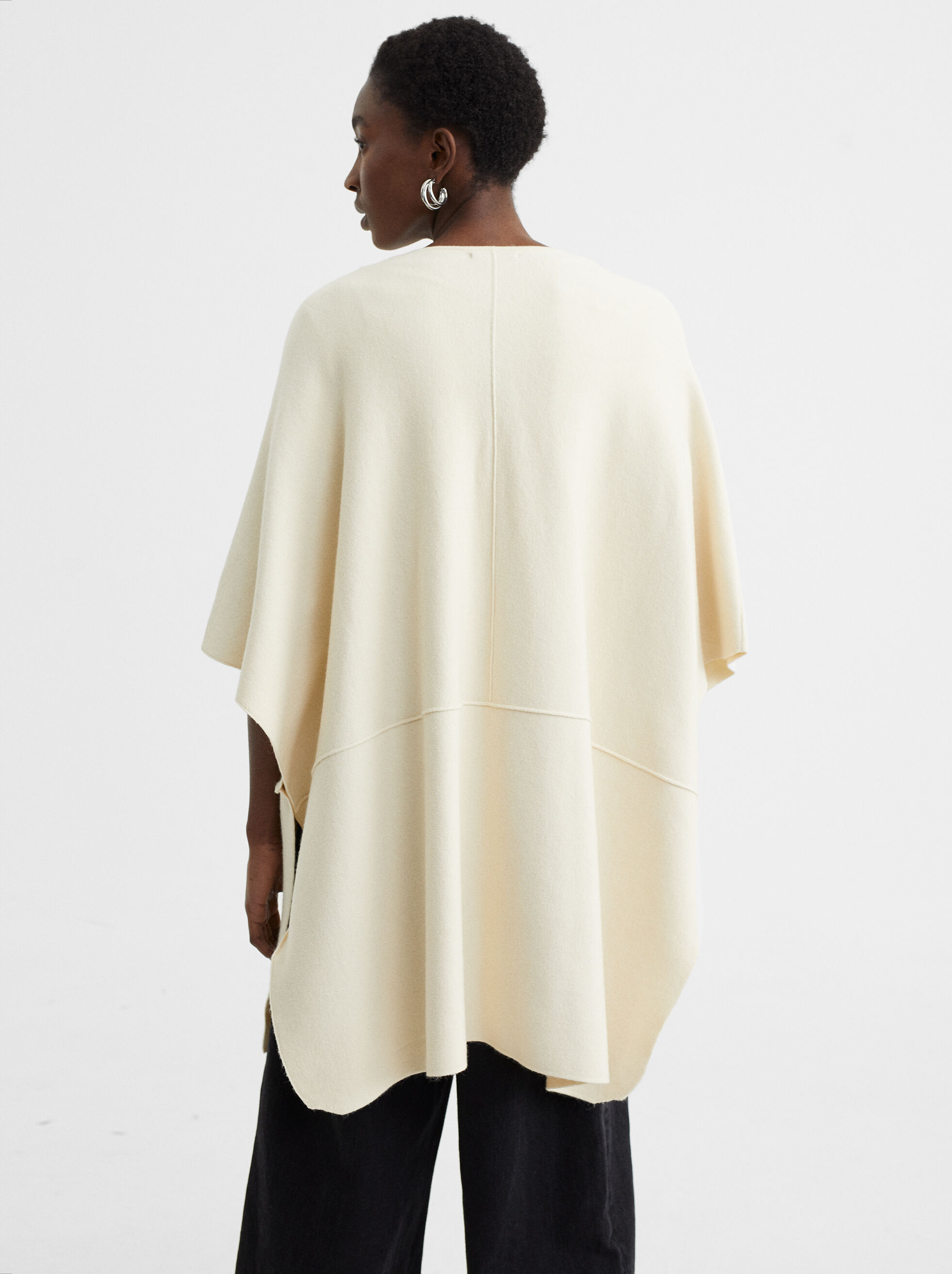 Knit Poncho With Pockets, Ecru, hi-res