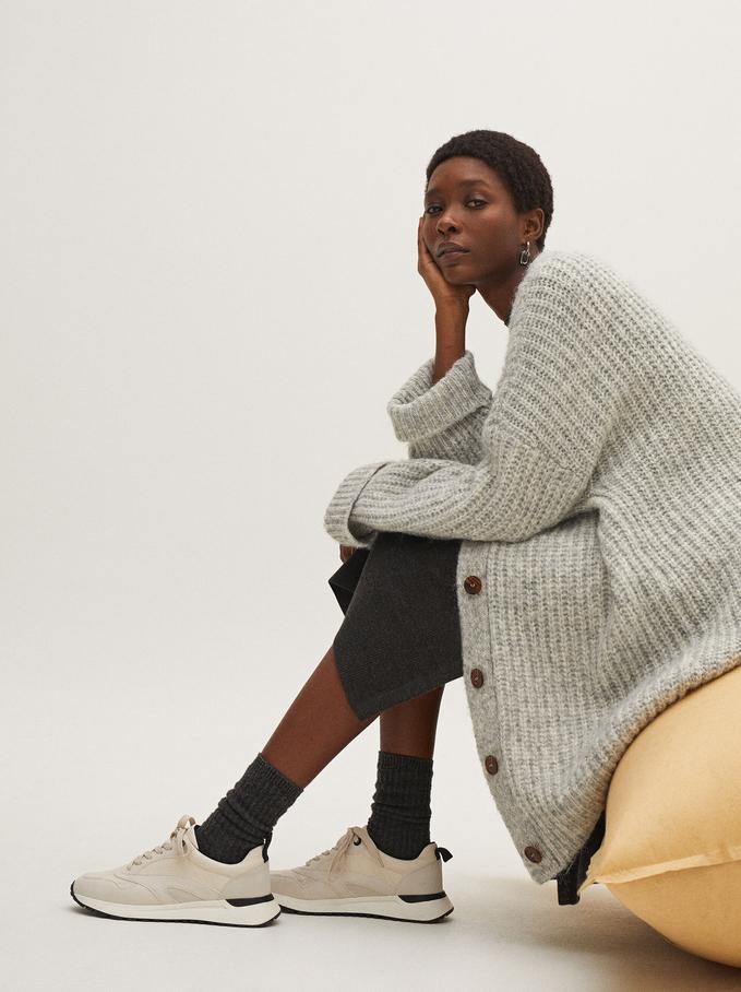Oversize Knit Cardigan, Grey, hi-res