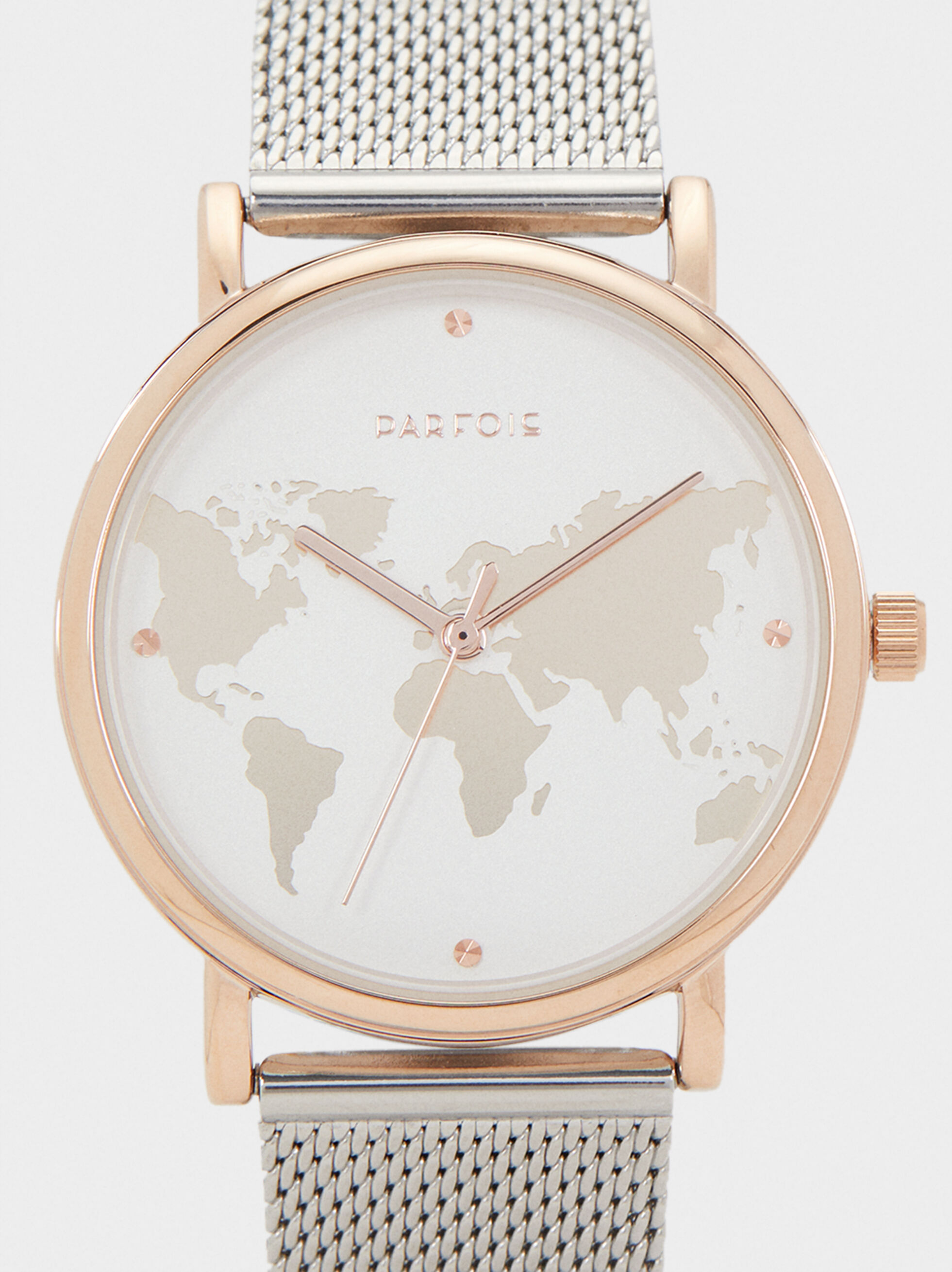 Watch With Steel Strap And World Map Face, Silver, hi-res