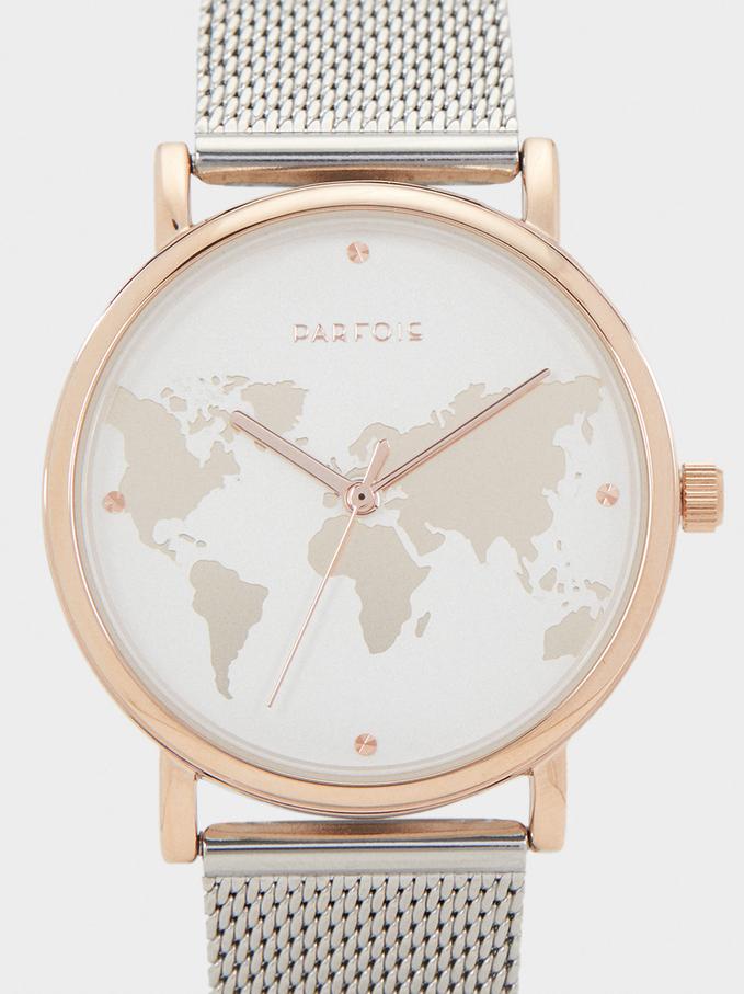 Reloj Correa De Acero Esfera Mapamundi, Plateado, hi-res