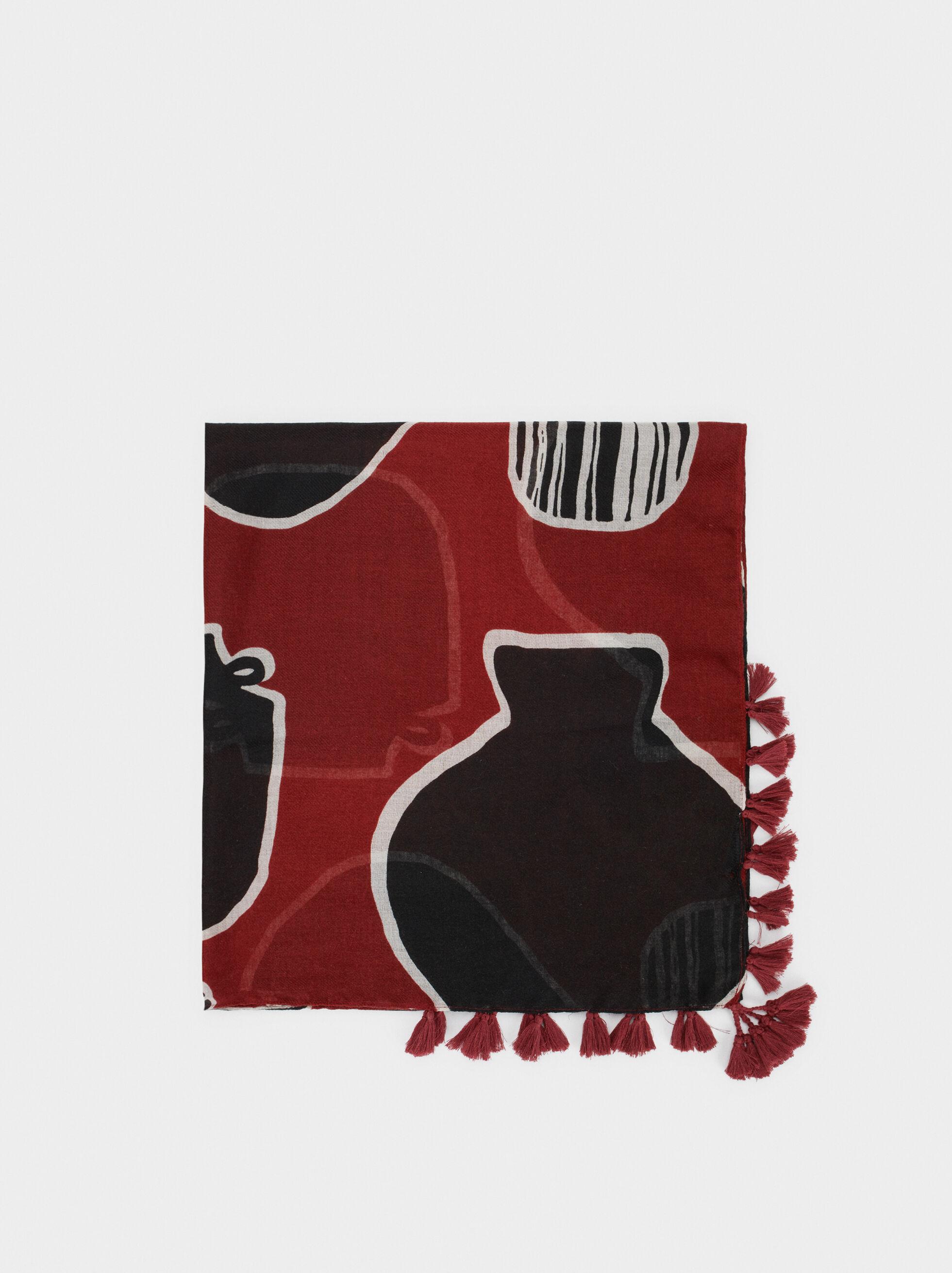 Printed Scarf, Brick Red, hi-res