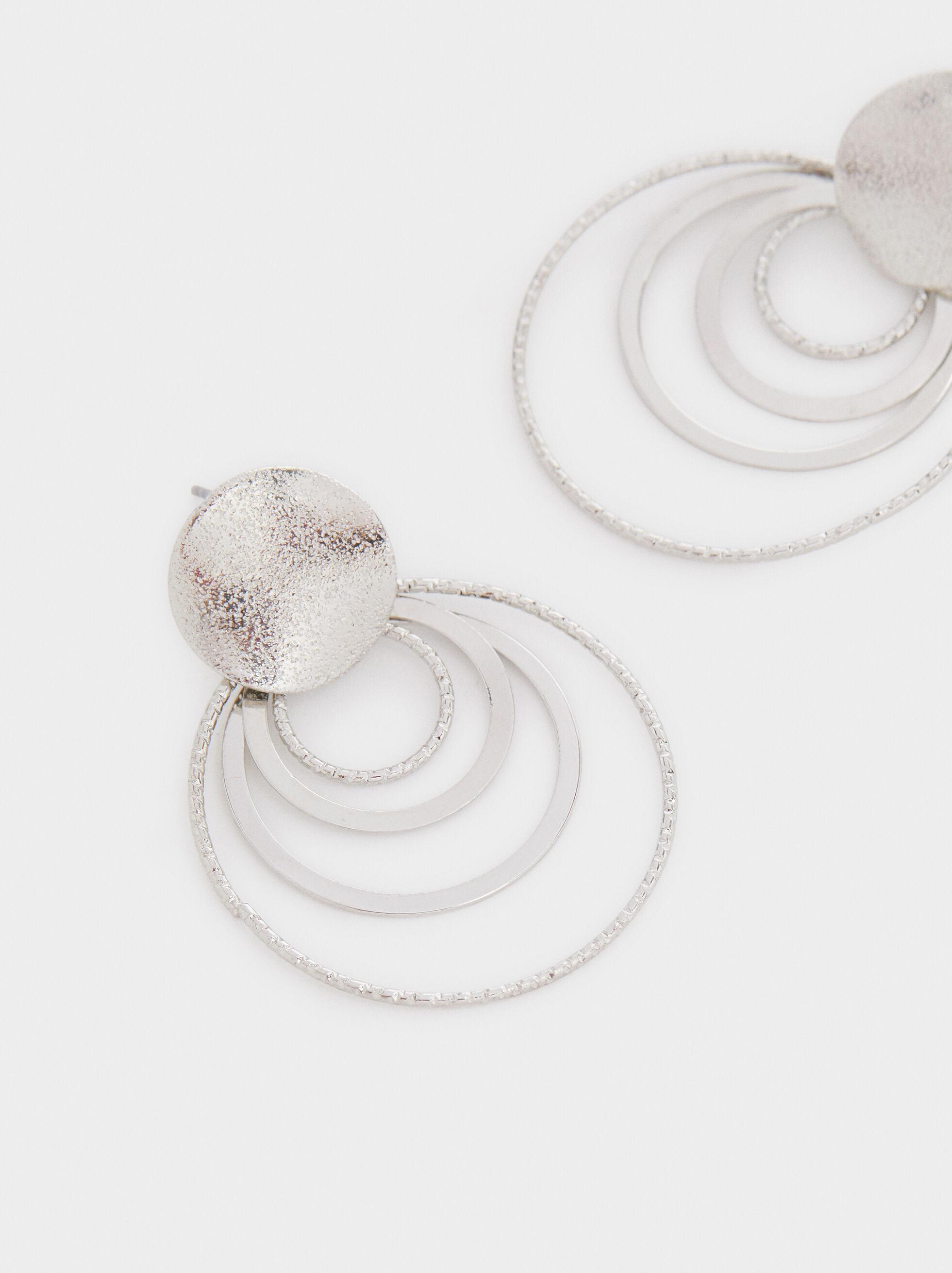 Medium Circle Earrings, Silver, hi-res
