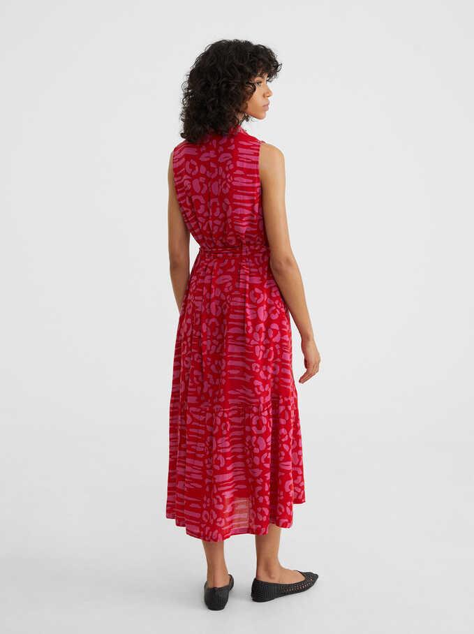 Vestido Estampado Cierre De Botones, Rojo, hi-res