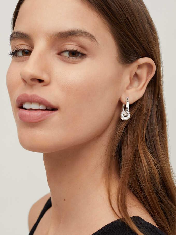 Small Hoop Earrings With Pendants, White, hi-res