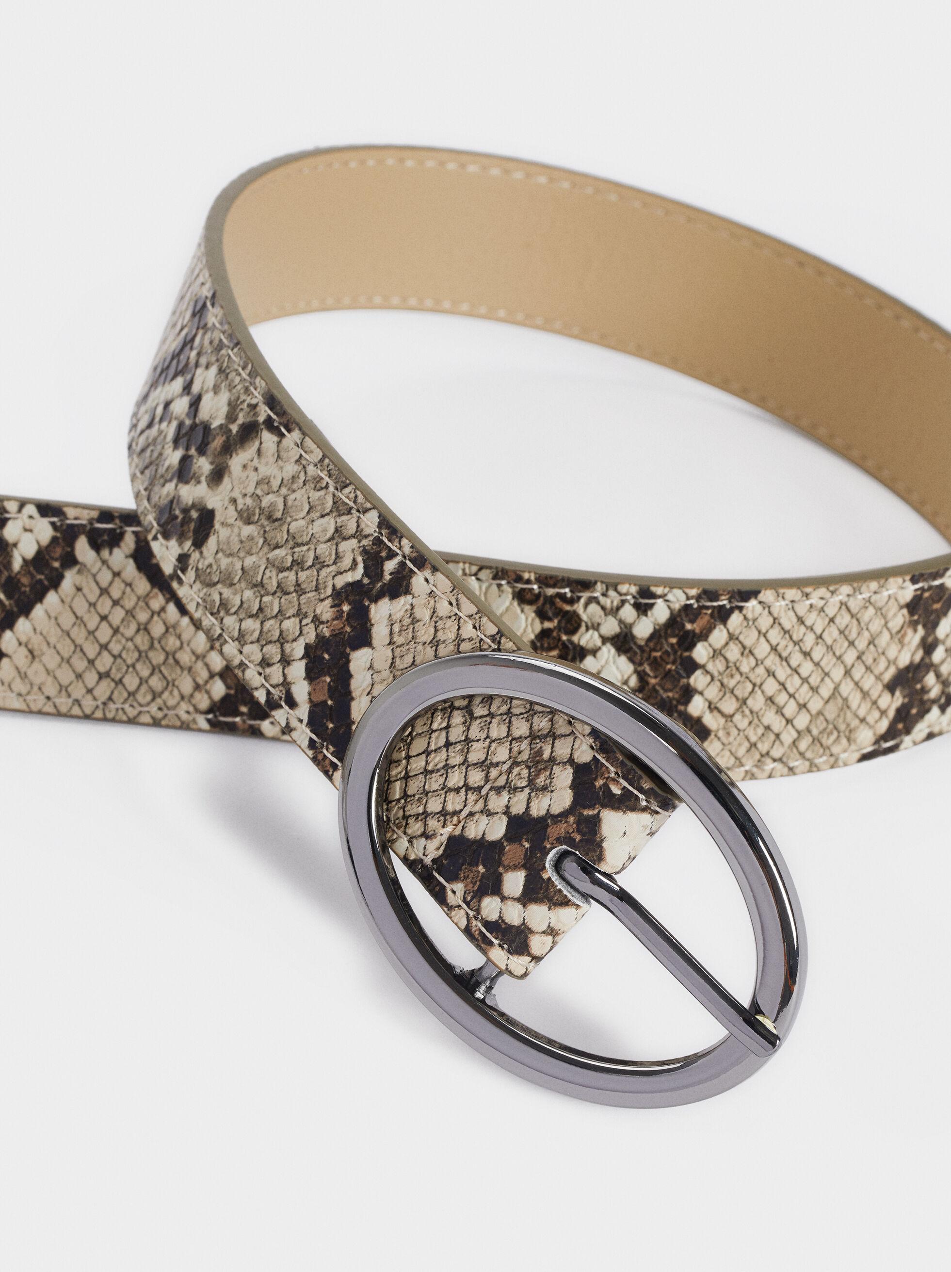 Embossed Animal Print Belt, Beige, hi-res