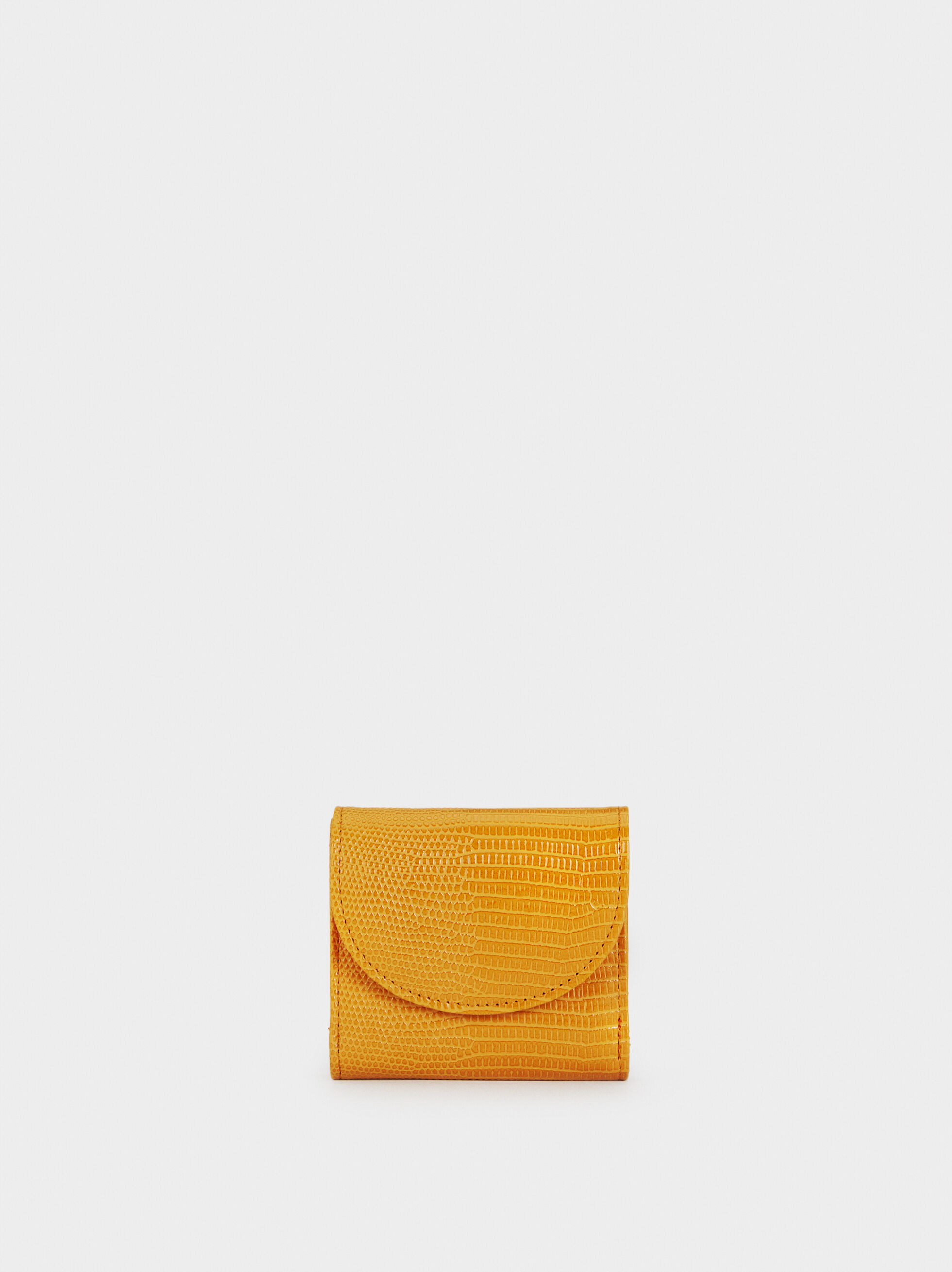 Small Mock Croc Coin Purse, Mustard, hi-res
