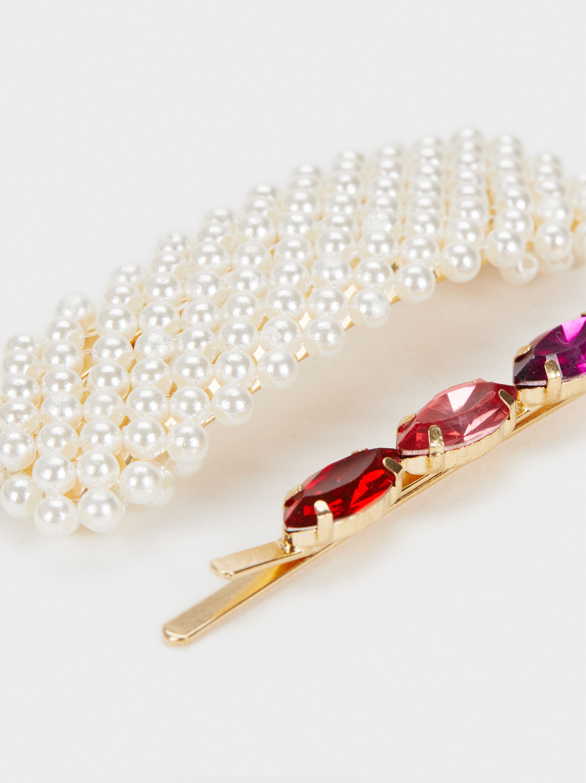 Set Of Bejewelled Hairclips With Faux Pearls, Multicolor, hi-res