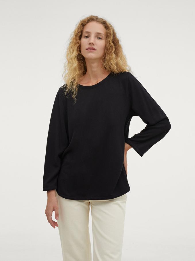 Round Neck T-Shirt, Black, hi-res