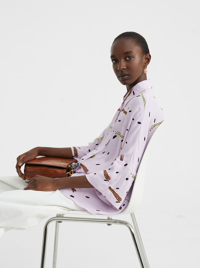 Printed Oversized Shirt, Purple, hi-res