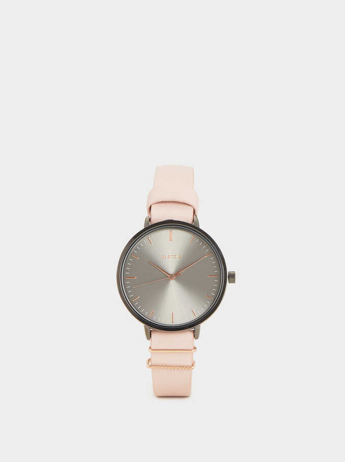 Watch With Metallic Details On The Wristband , Pink, hi-res