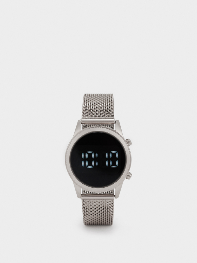 Digital Watch With Metallic Mesh Strap, Silver, hi-res