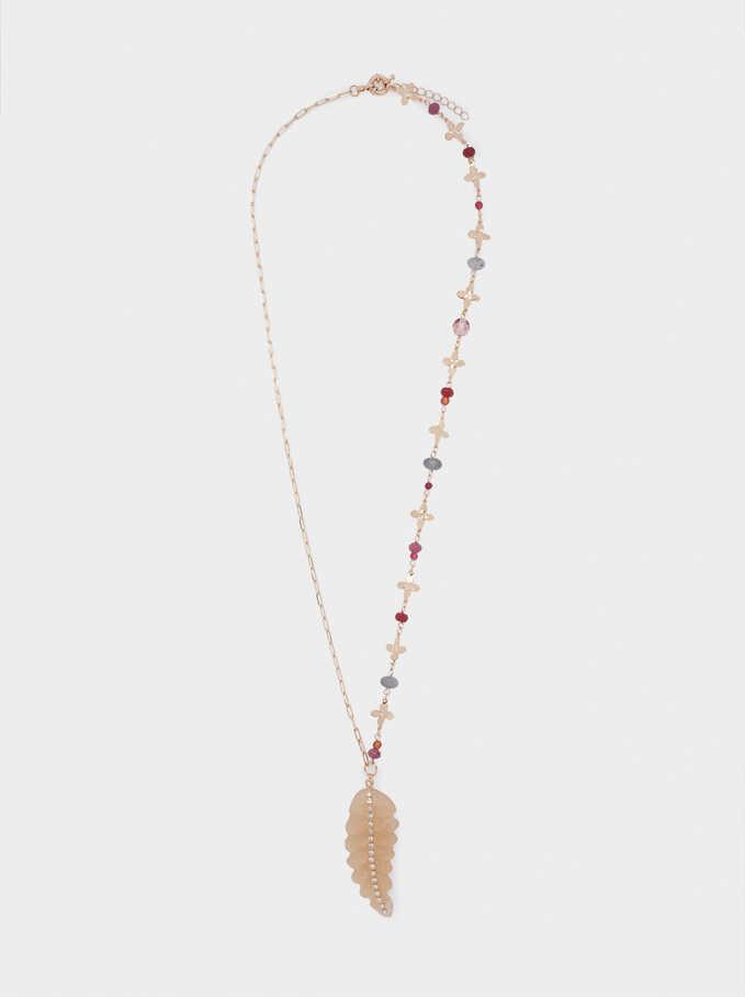 Long Leaf Necklace, Golden, hi-res