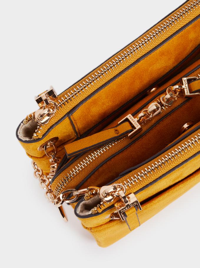 Fake Suede Crossbody Bag, Mustard, hi-res