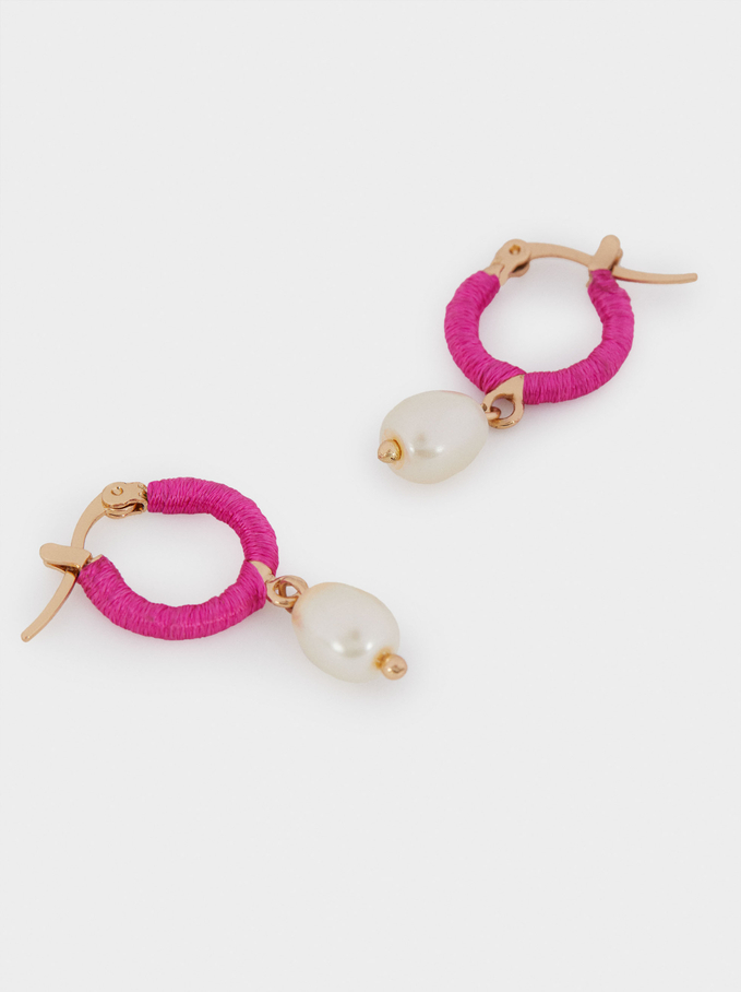 Small Hoop Earrings With Pendants, Pink, hi-res