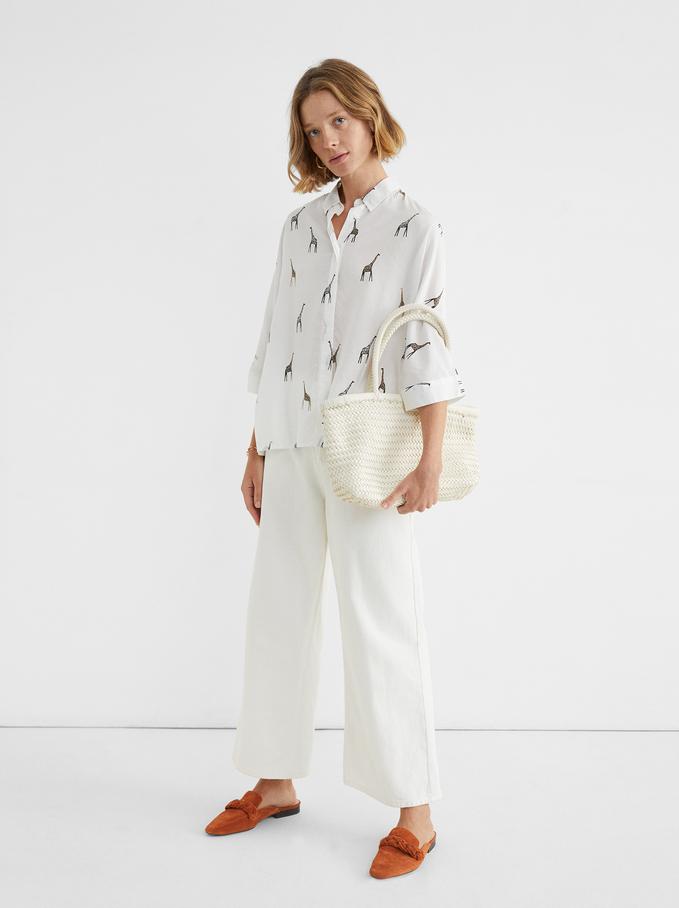 Oversize Shirt With Giraffe Print, Ecru, hi-res