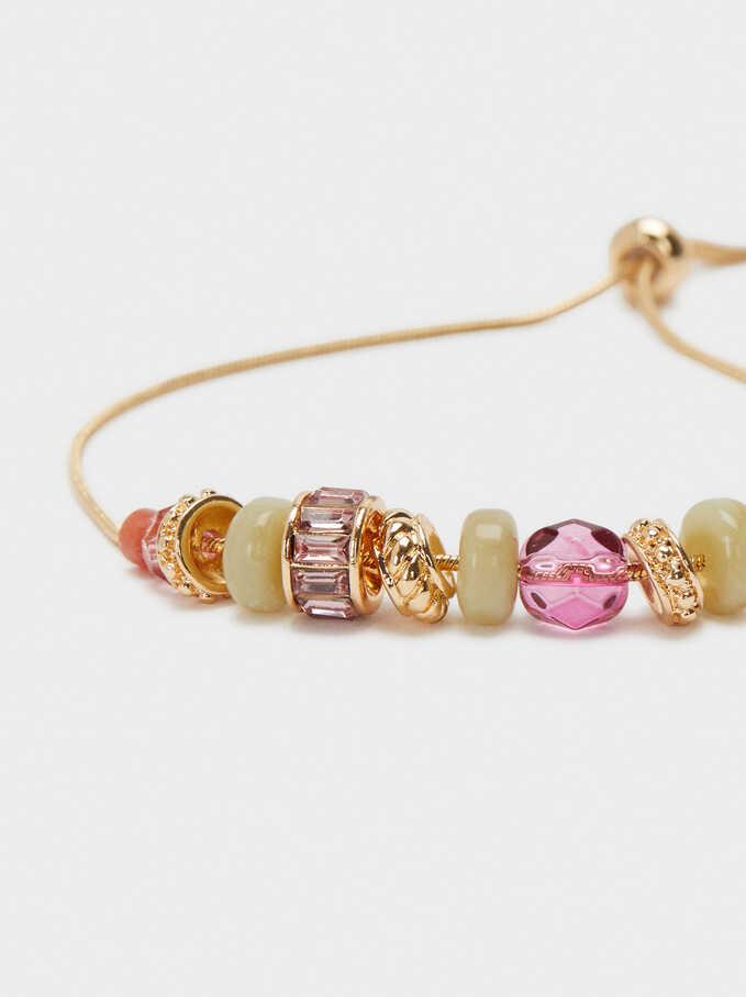 Adjustable Bracelet With Beads, Golden, hi-res