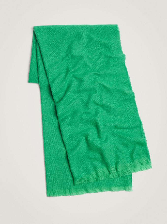 Plain Maxi Scarf, Green, hi-res