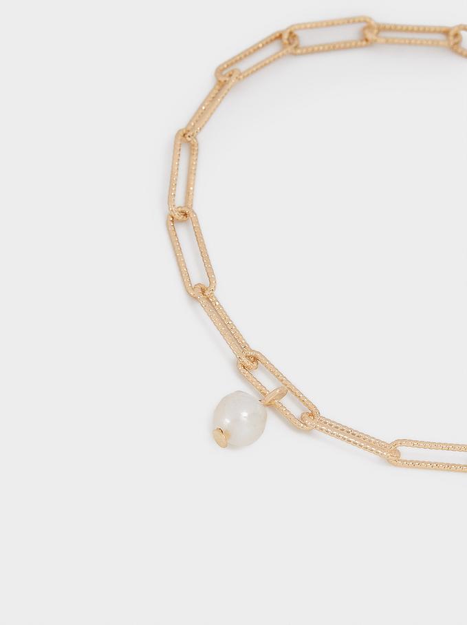Bracelet With Pearl, Golden, hi-res