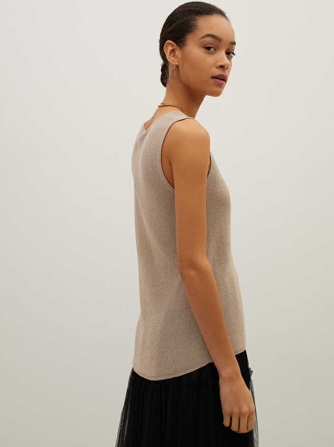 Strappy Knitted Top, Beige, hi-res
