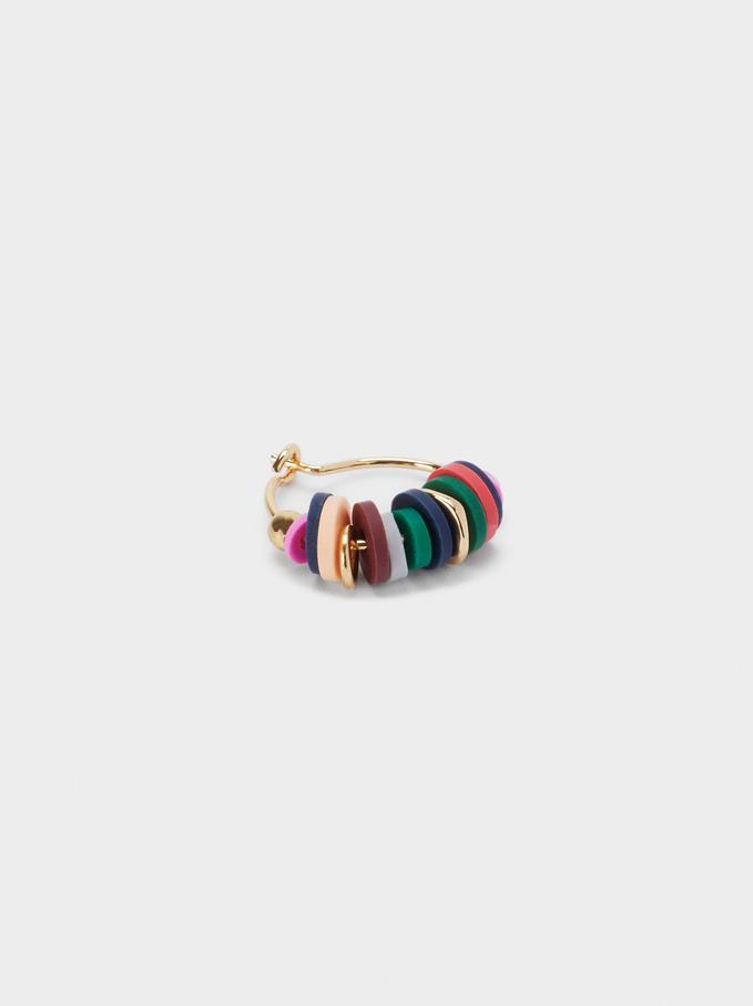 Orecchini A Cerchio Corti Con Perline, Multicolore, hi-res