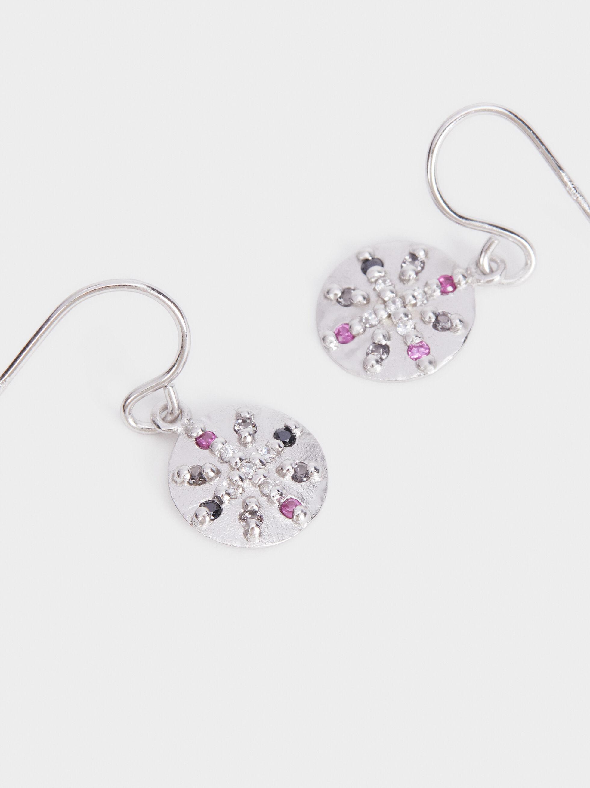 925 Silver Medium Rhinestone Earrings, Multicolor, hi-res