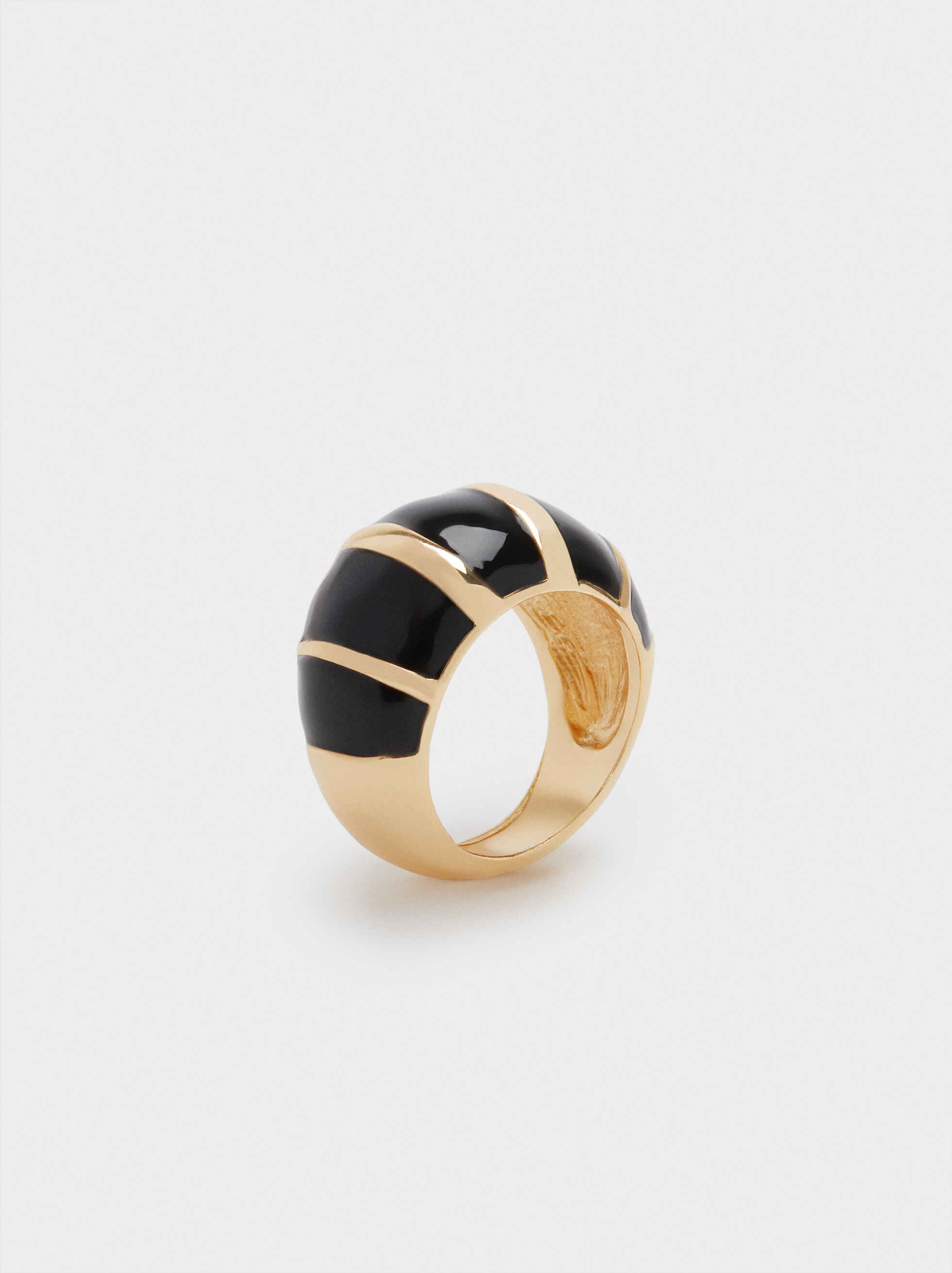 Black Ring With Gold Metal Detail, , hi-res