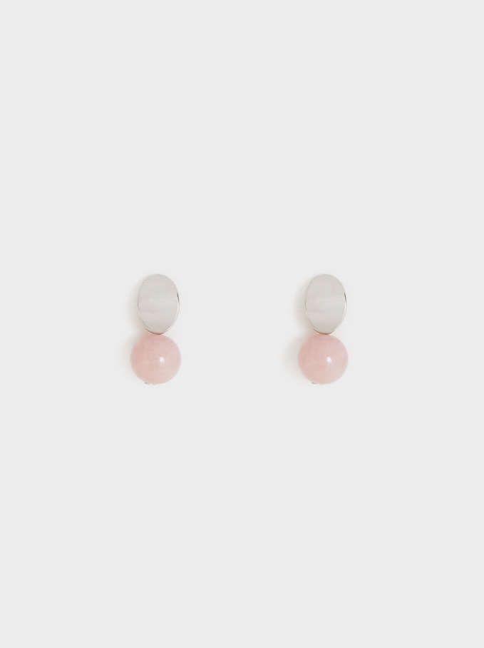 Cosmic Pink Studs With Spheres, Multicolor, hi-res