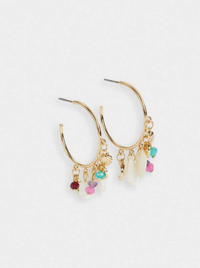 Hoop Earrings With Shell And Beads, Multicolor, hi-res
