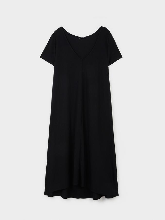 Vestido Decote Em Bico, Preto, hi-res