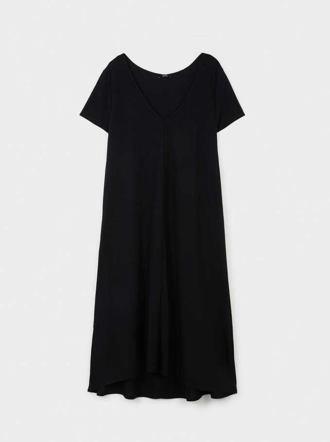 Dress With V-Neckline, Black, hi-res