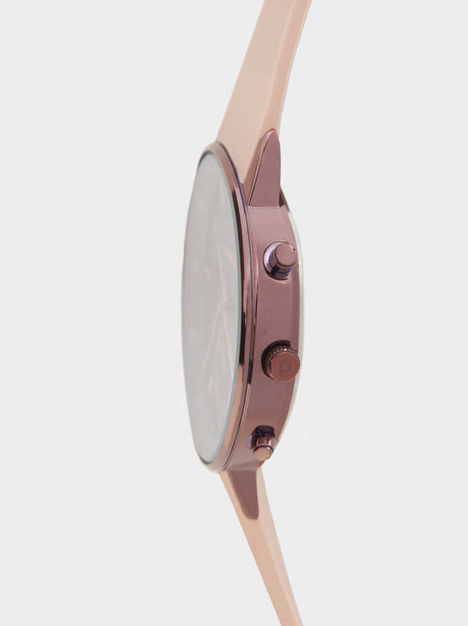 Watch With Silicone Strap, Pink, hi-res