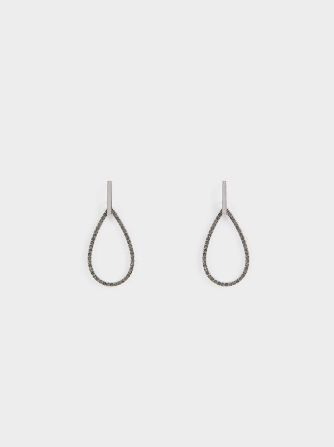 Boucles D'Oreilles Moyennes Faux-Diamants, Argent, hi-res