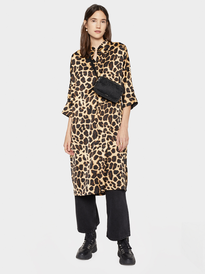 Animal Print Shirt Dress, Golden, hi-res