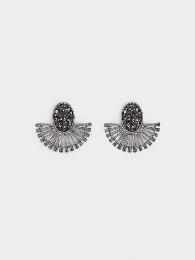 Small Earrings With Crystals, Grey, hi-res