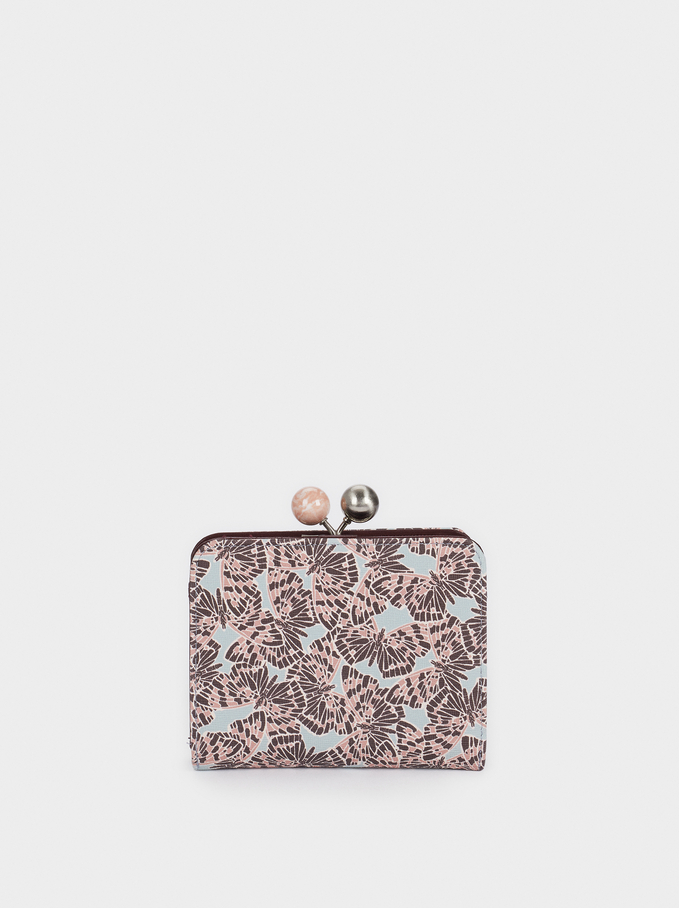 Printed Compact Purse With Clasp Closure, Pink, hi-res