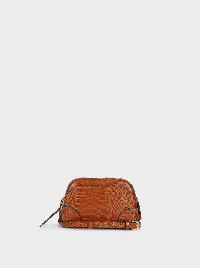 Animal Embossed Crossbody Bag, Camel, hi-res
