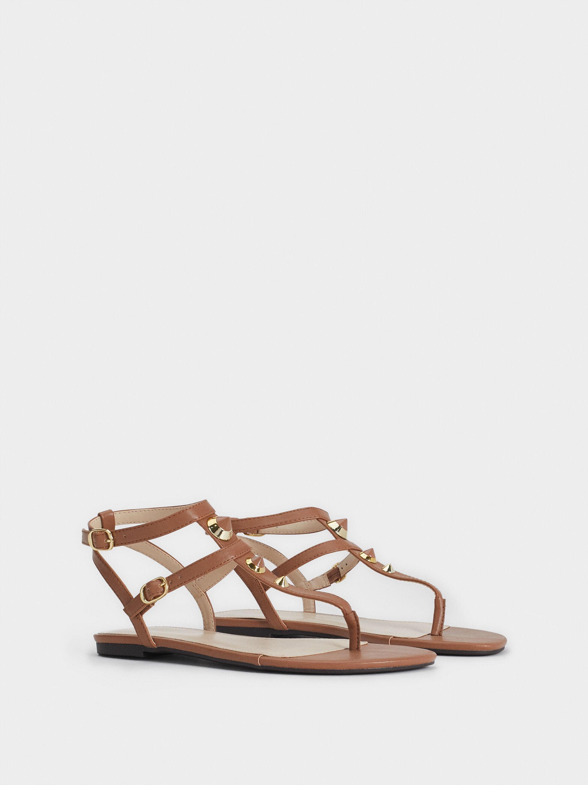 Flat Sandals With Metal Appliqués, Brown, hi-res