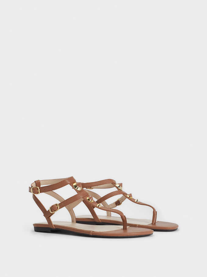 Flat Sandals With Metal Appliqués, Brown, hi-res