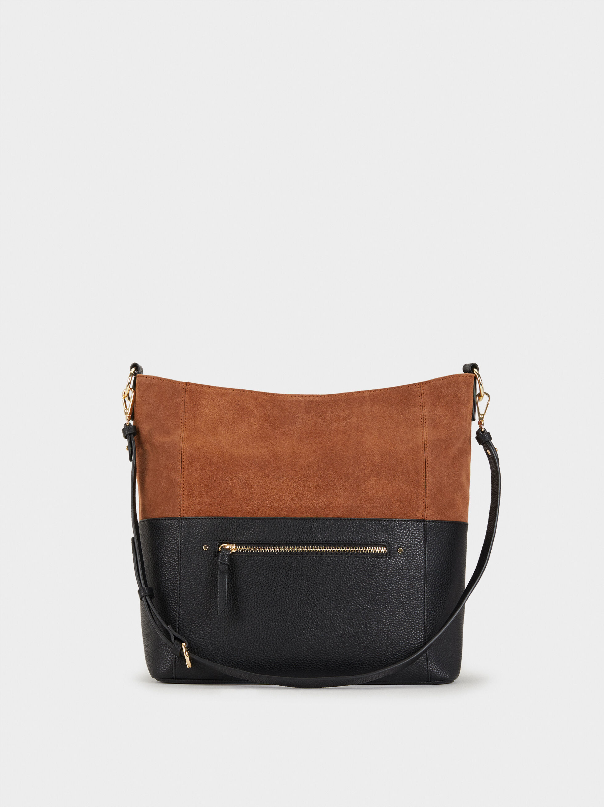 Suede Bucket Bag, Camel, hi-res