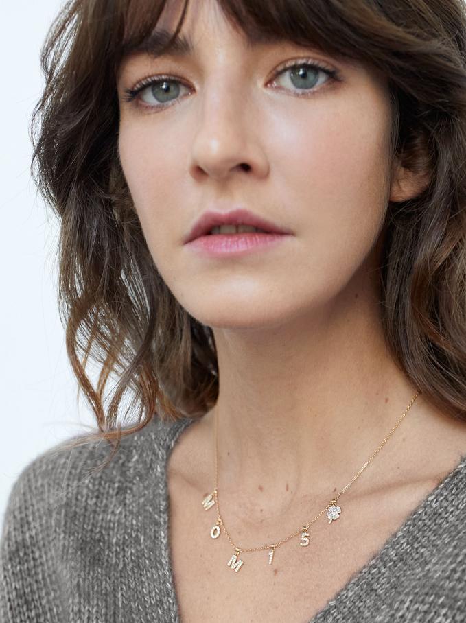 Collar Corto De Plata 925 Personalizable Dorado, Dorado, hi-res